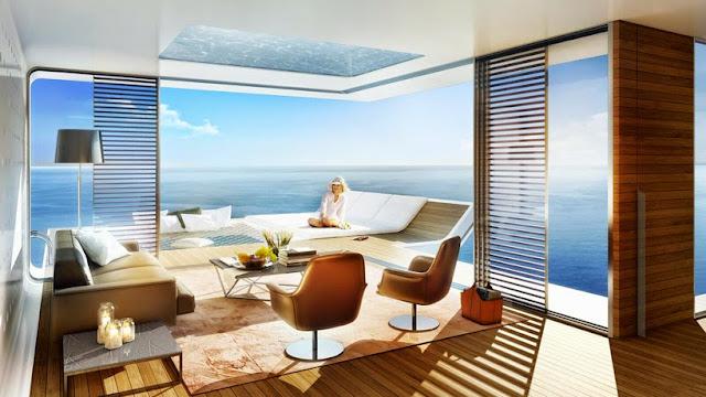 """Nội thất phòng khách biệt thự """"nửa nổi nửa chìm"""" ở Dubai"""