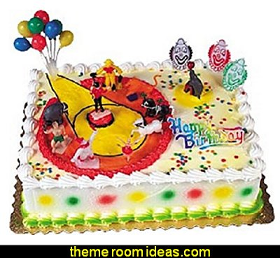 Circus and Clowns Birthday Cake Decorating Topper   circus themed party decorations - carnival circus theme party decorations - circus carnival themed birthday party - Ice Cream theme decor -  circus party supplies - Circus Party Props - circus costumes - circus carnival party supplies