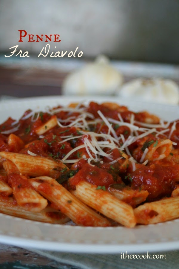 Penne Fra Diavolo, penne pasta in a spicy tomato sauce, easy, delicious and ready in under 30 minutes!