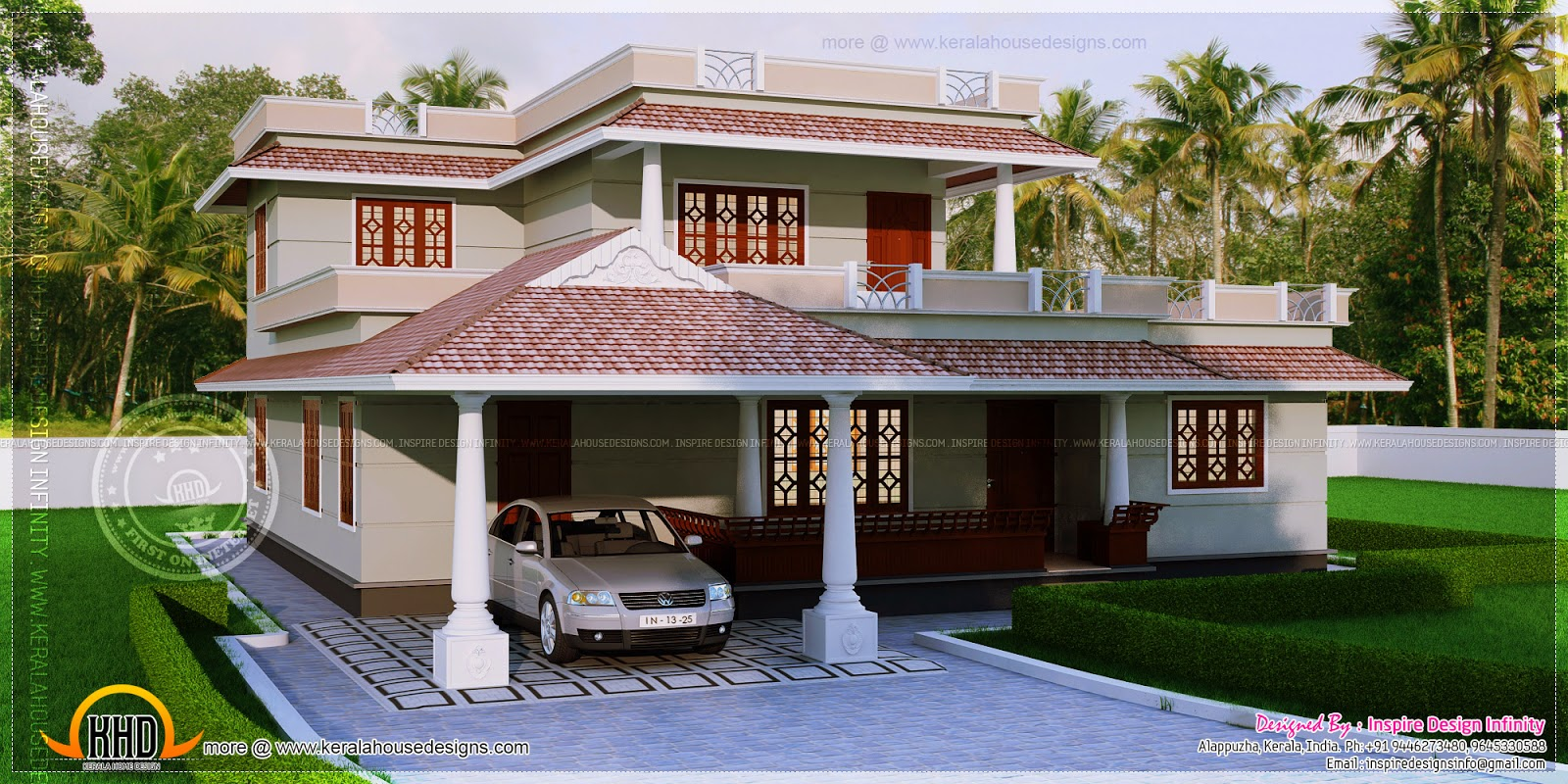 4 bedroom kerala style house in 300 square yards kerala for Kerala style 2 bedroom house plans