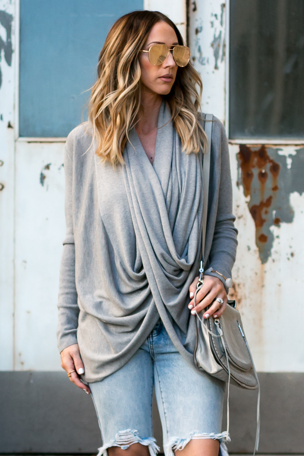 grey drape front sweater
