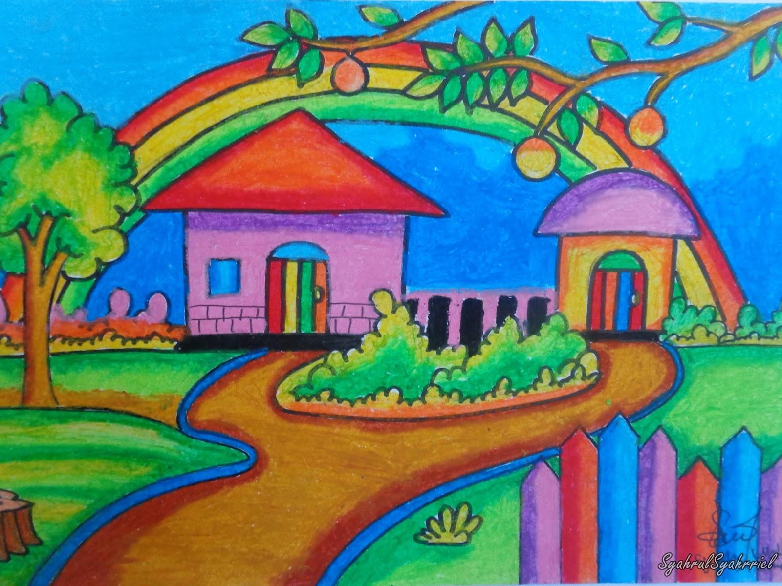 Gambar Ilustrasi Pemandangan Crayon