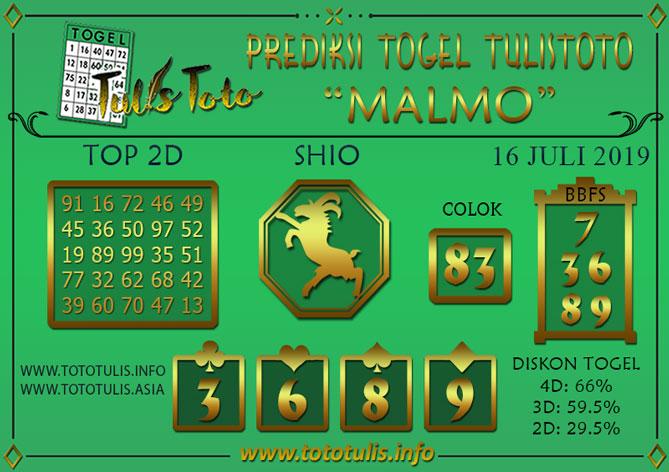 Prediksi Togel MALMO TULISTOTO 16 JULI 2019