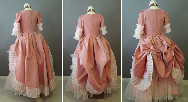 American Duchess 18th century 1770s Polonaise skirt effect