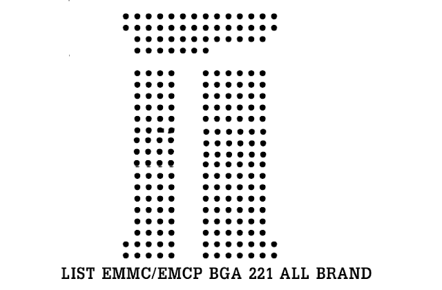 List eMMC/eMCP BGA 221 All Brand