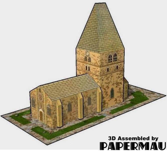 PAPERMAU: The Village Church - French Vintage Paper Model