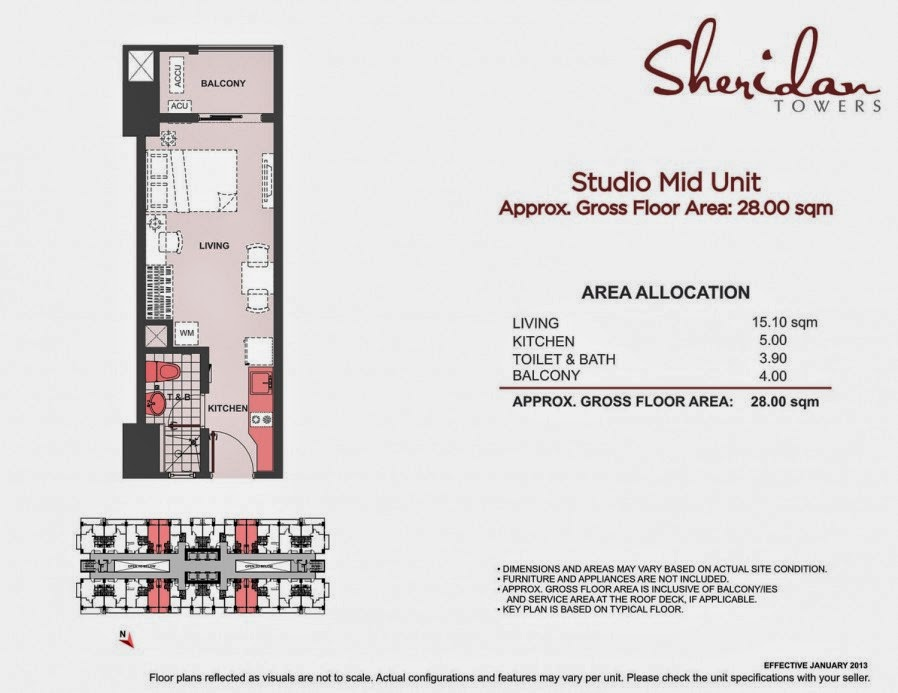 Sheridan Towers  Studio Unit 28.00 sqm.