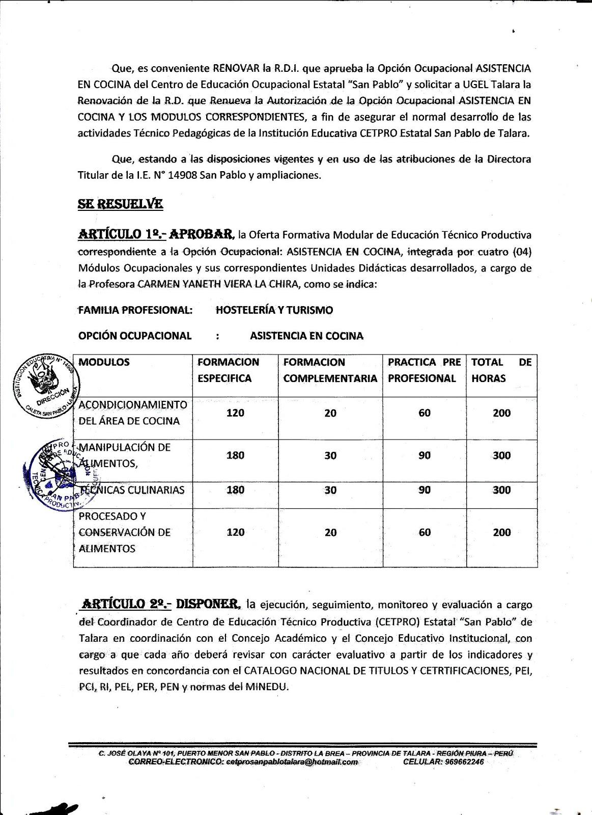 Centro De Formacion Profesional San Pablo De Talara Cetpro