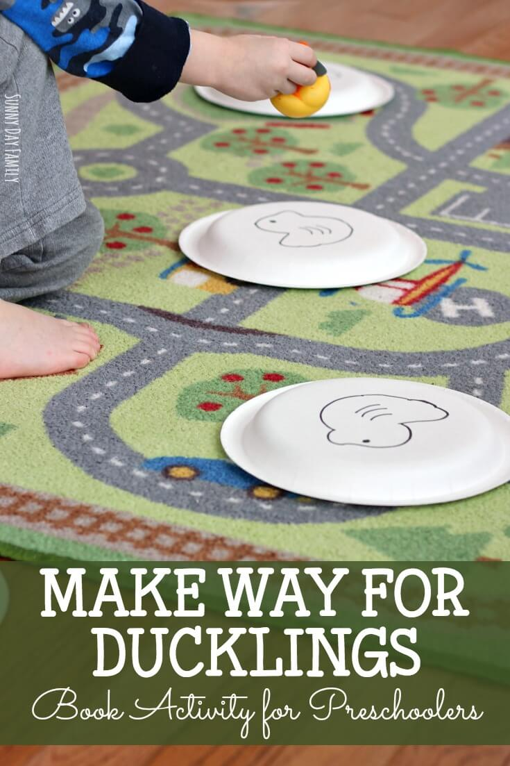 Celebrate the 75th anniversary of Make Way for Ducklings with this fun book inspired activity! Get preschoolers up and moving as they try to get their ducks safely across town to the waiting pond. So fun and perfect for spring!