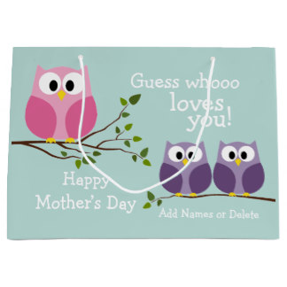 Gift Bags for Mom - Mother's Day - Cute Owls Large Gift Bag