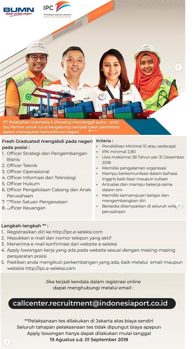 Penerimaan Karyawan Baru PT Pelabuhan Indonesia II (Persero) Tahun 2018