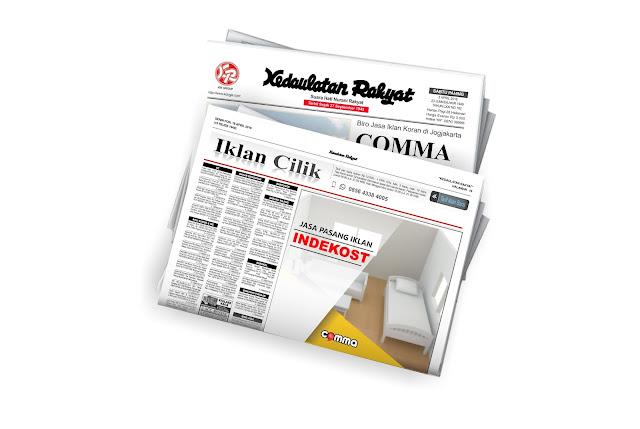 pasang iklan indekos di koran Kedaulatan rakyat jogja