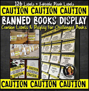 Banned Books Week caution warning labels with bulletin board display