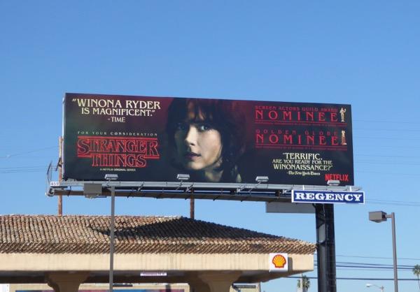 Stranger Things Winona Ryder consideration billboard