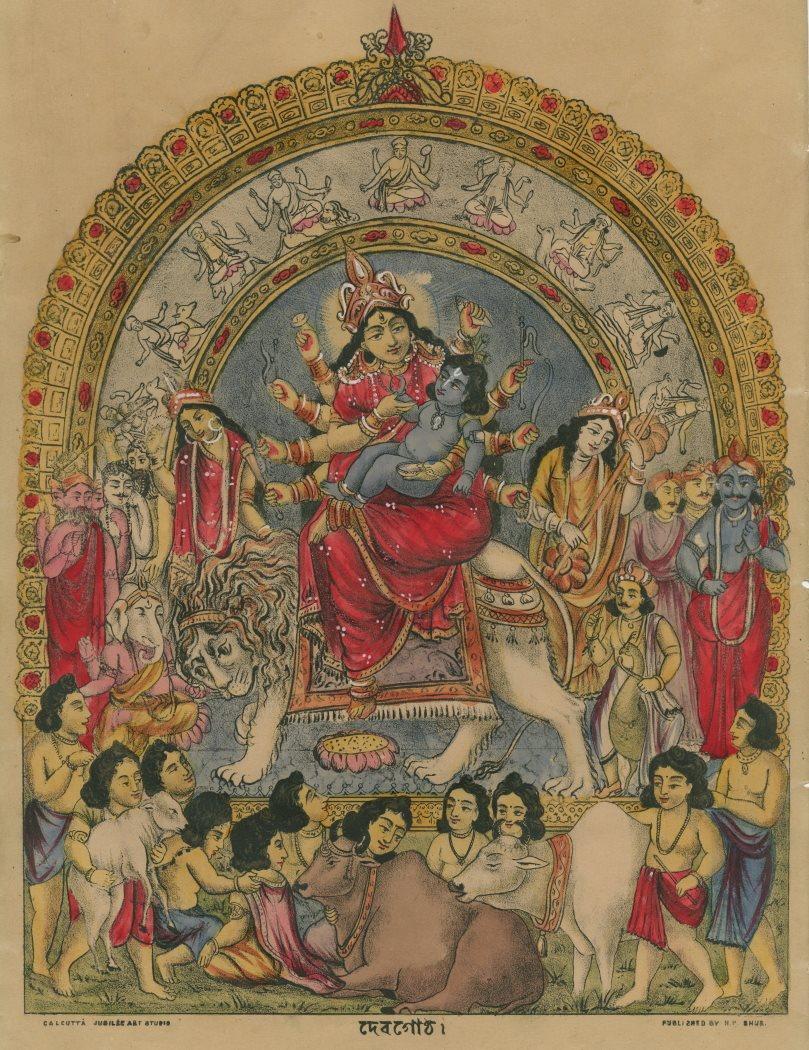 Baby Krishna and Durga - Hand Coloured Lithograph, Calcutta (Kolkata) c1880's