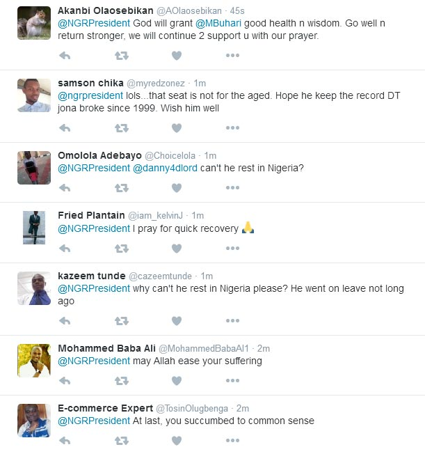 Nigerians react to president Buhari's travel to London over ear infection