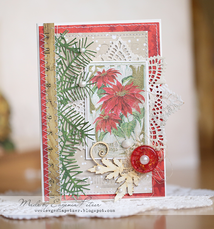 Poinsettia card by Evgenia Petzer using Bo Bunny Christmas Collage