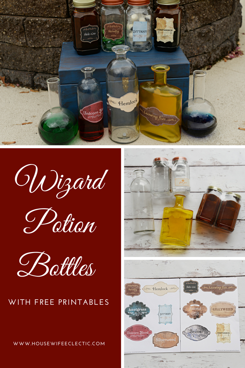 image regarding Harry Potter Potion Book Printable known as Wizard Potion Bottles with Cost-free Printable Labels - Housewife