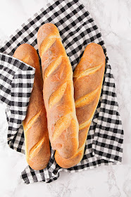 These homemade classic baguettes have the perfect crisp exterior and soft inside. They taste just like they came from a fancy bakery!