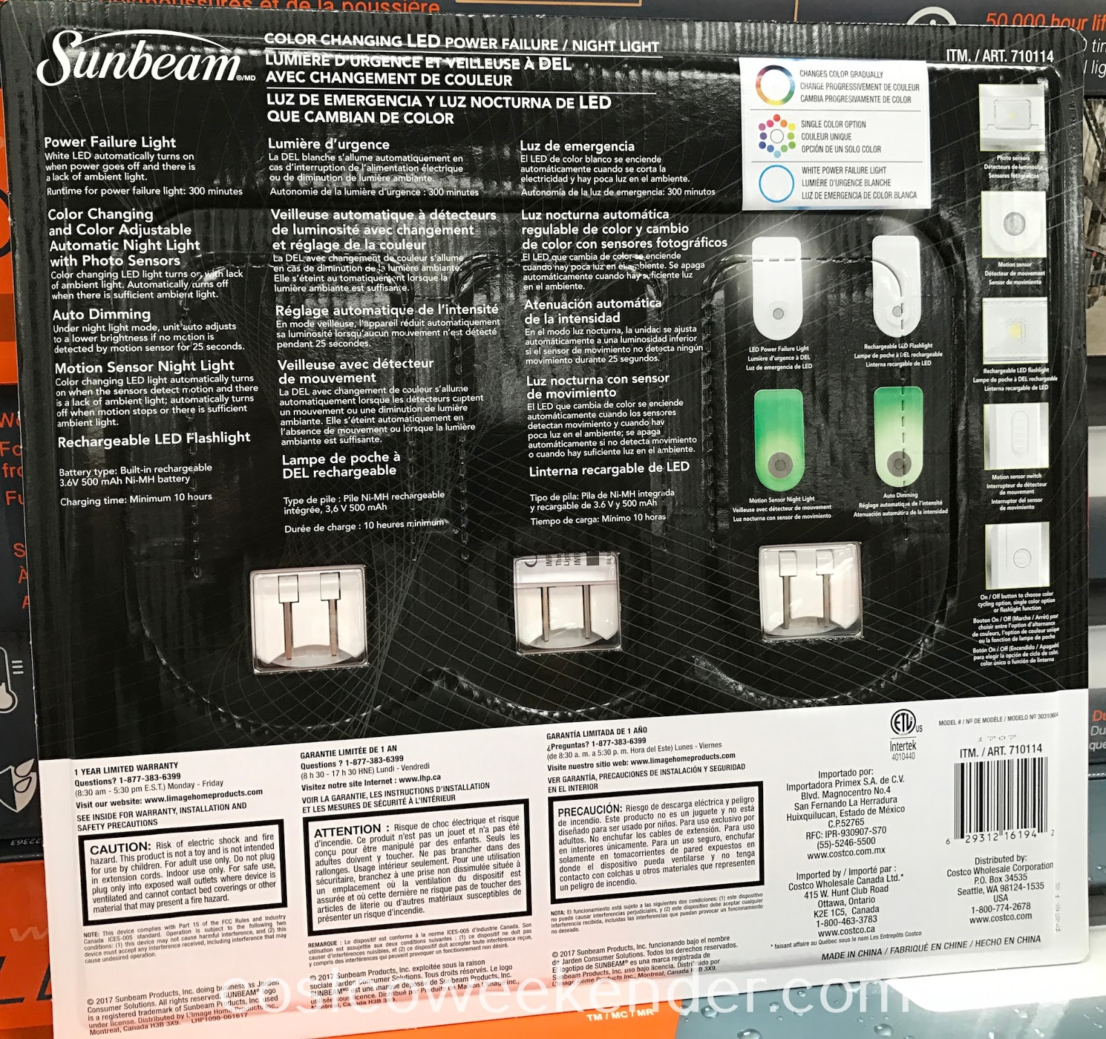 Costco 710114 - Sunbeam Color Changing LED Power Failure Night Light: good to have in every home