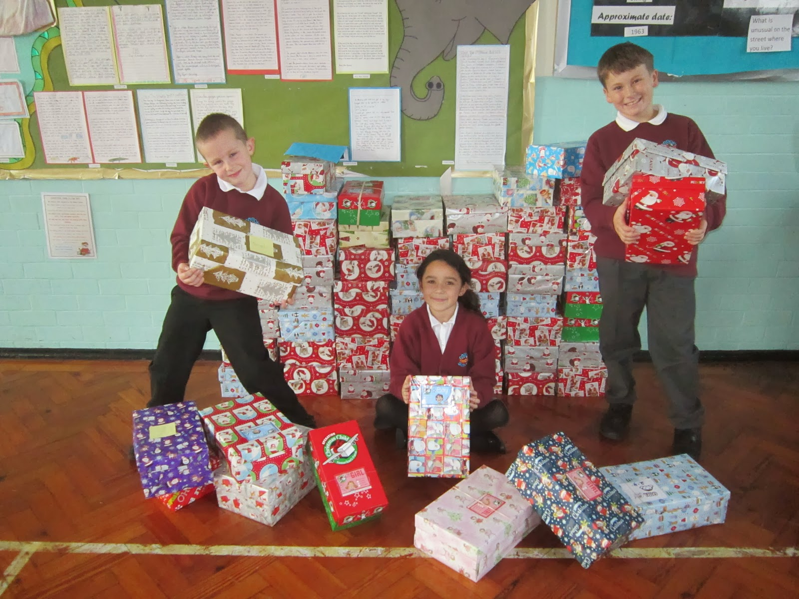 meon junior school xmas presents for charity shoeboxes