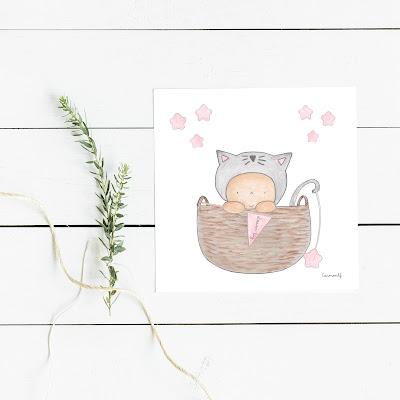 NURSERY WALL ART , lámina infantil decoración gatito, arriba en el desván,
