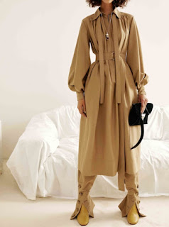 2017 Cruise Collection Celine beige camel belted midi trench dress