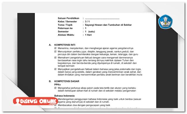 RPP SD Kurikulum 2013 SD/MI Kelas 3 Lengkap