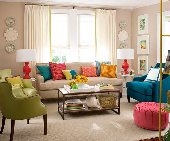Charming Colors In The Pillows Echo The Chair And Ottoman And The Lamps. Via  Pinterest