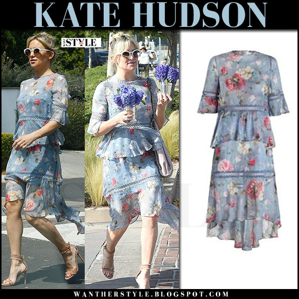 Kate Hudson in blue floral print tiered dress zimmermann what she wore spring style march 2017
