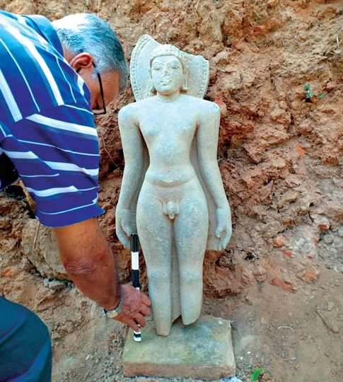 Seventh century Ganga Dynasty idol excavated at Talakad