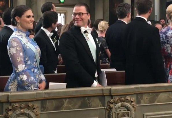 Crown Princess Victoria wore Cassandra dress by ERDEM. Crown Princess Victoria and Daniel attended the wedding of Joen Bonnier and Jessica Crawley