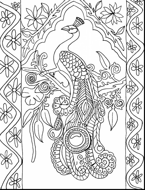 Amazing Peacock Adult Coloring Pages Printable With Color Book Pages And  Color Book Pages For Adults
