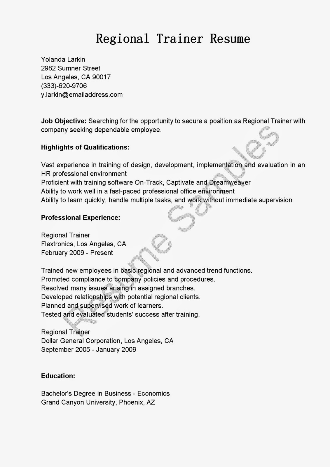 Sample Trainer Resume Resume Samples Regional Trainer Resume Sample