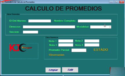 Formulario de Promedio en Visual Basic
