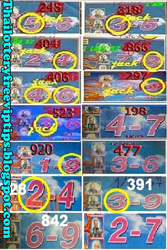 Thai lottery Dragon Touch Tip paper 01-09-2014