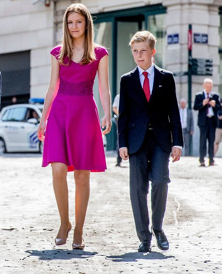 Queen Mathilde, Crown Princess Elisabeth, Princess Eleonore, Prince Gabriel and Prince Emmanuel at Belgian National Day. Natan Dress