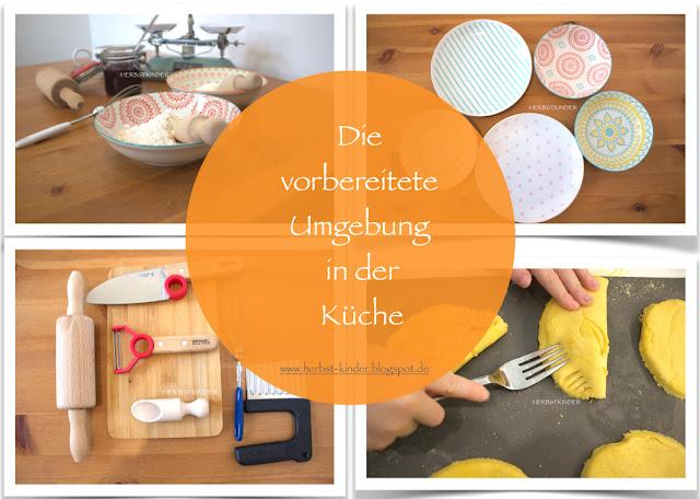 vorbereitete Umgebung in der Küche Montessori