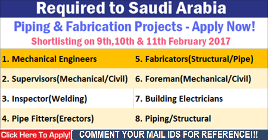 Job Vacancies in Saudi Arabia - Piping & Fabrication