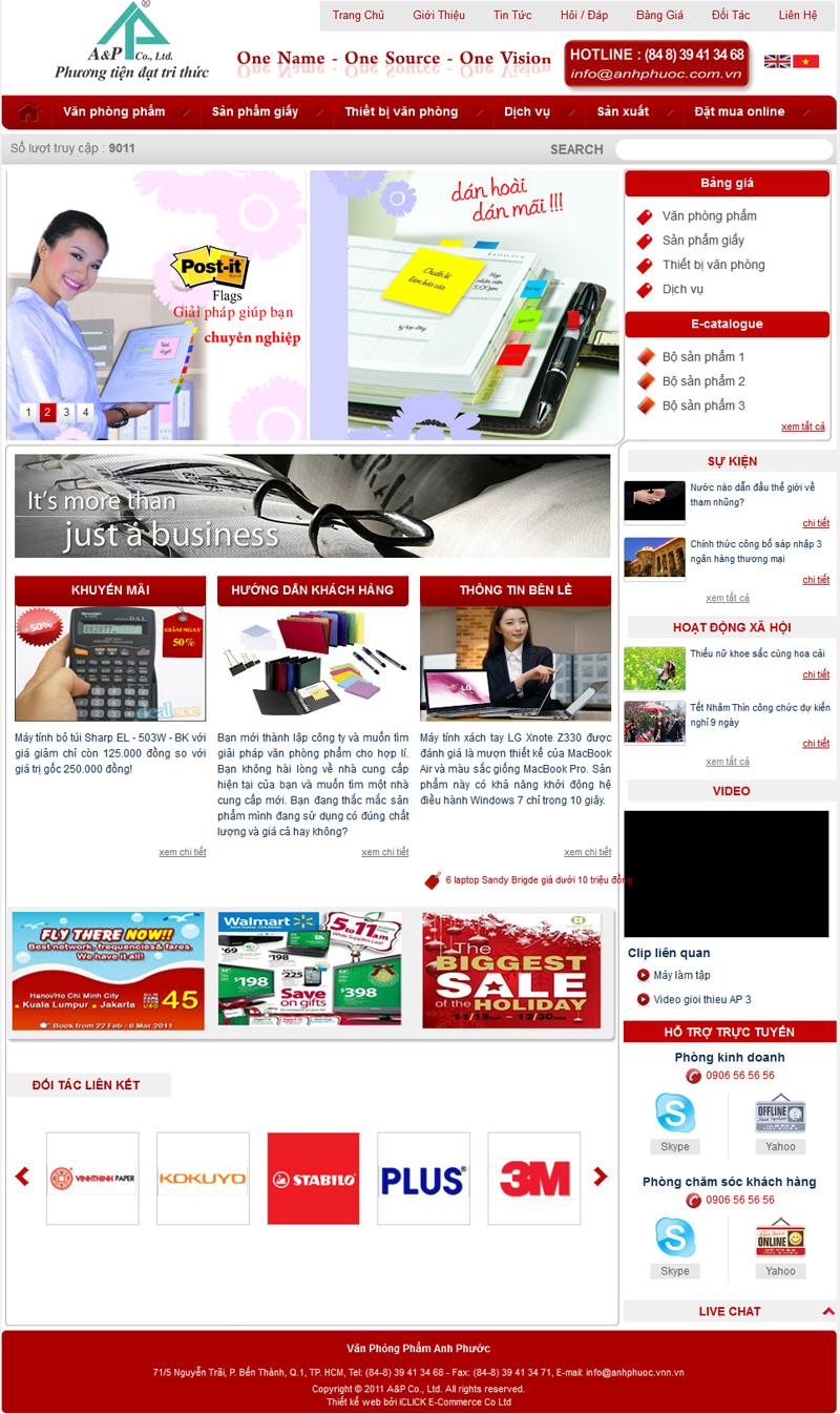 dịch vụ thiết kế website văn phòng phẩm