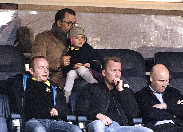 Princess Estelle of Sweden and her father Prince Daniel watched a football match on Sunday at Sweedbank Arena in Stockholm