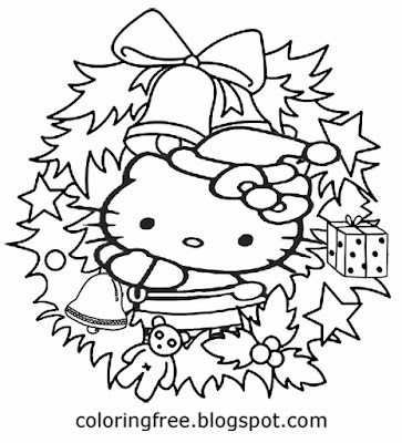 Hello kitty coloring book pages holly wreath Christmas holiday easy creative drawing ideas for girls