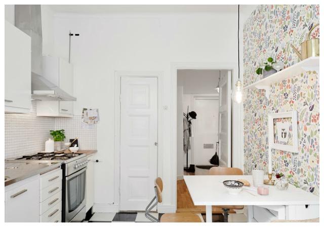 Decoraci n f cil cocinas con papel pintado - Papel para paredes de cocina ...