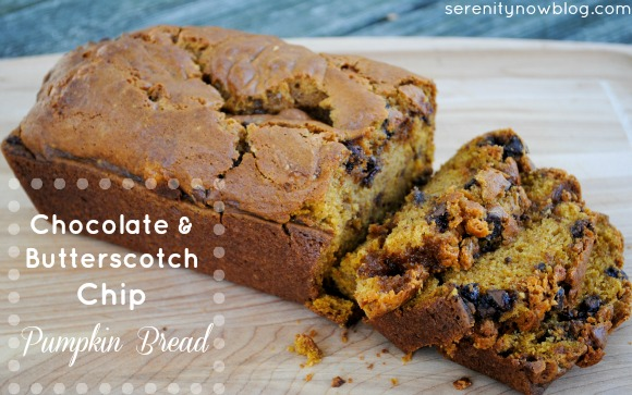 Chocolate and Butterscotch Chip Pumpkin Bread, from Serenity Now