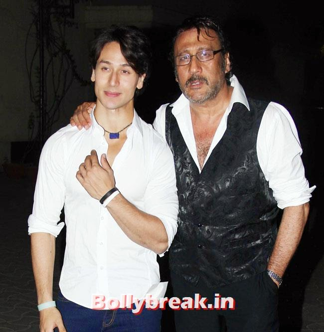 Tiger Shroff and Jackie Shroff, Celebs at Heropanti Special Screening