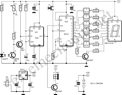 NTE Electronics Circuit: Light Gate With Counter Using 555