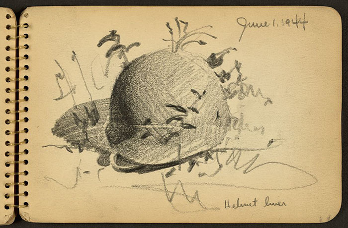 21-Year-Old WWII Soldier's Sketchbooks Show War Through The Eyes Of An Architect - Helmet Liner On Ground Drawn While Stationed At Fort Jackson, South Carolina