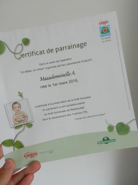 Certificat de parrainage - Guigoz - Un bébé un Arbre