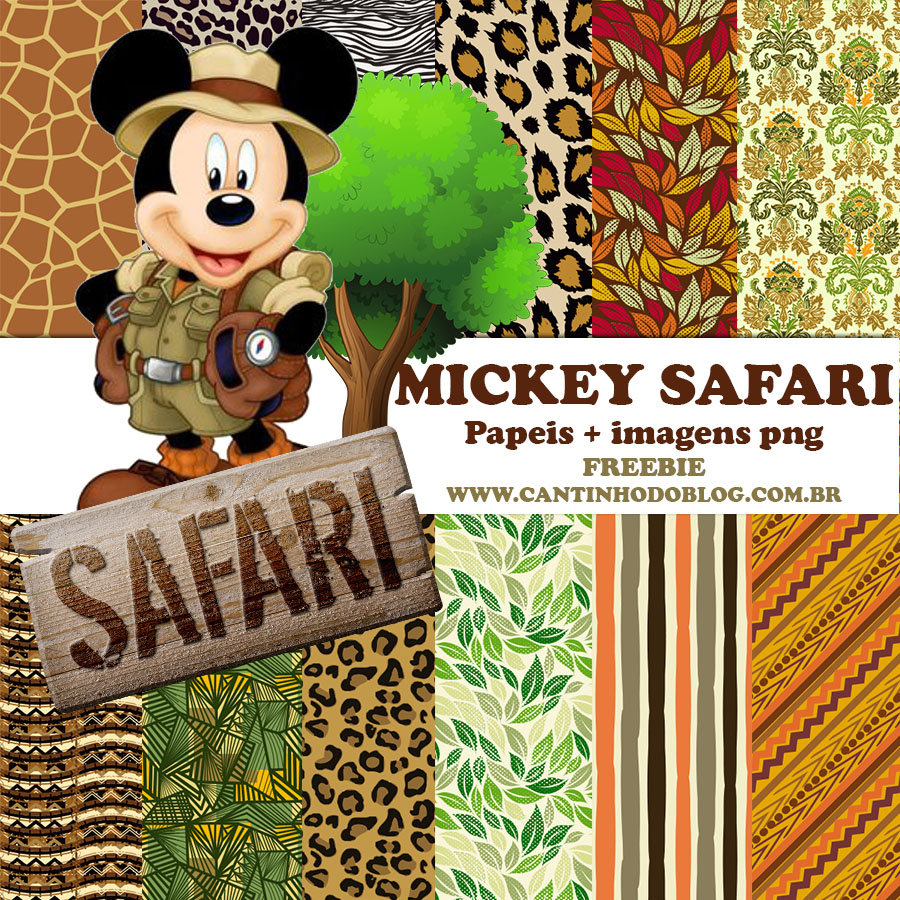 Kit Scrapbook Digital Mickey Safari Free Cantinho Do Blog