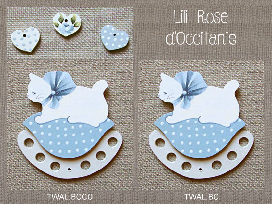 """Tri-fils bois peint, chat blanc sur coussin bleu + charms """"Coeurs"""" assortisTri-fils bois peint, joli chat roux sur coussin bleu à fleurs. Broderie et point de croix"""